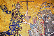 Christ being baptised by John The Baptist in Byzantine mosaics of Nea Moni built by Constantine IX and Empress Zoe after the miraculous appearance of an Icon of the Virgin Mary at the site and inaugurated in 1049. Scene of a terrible sack and massacre of hundreds of Chiots and priests during the Ottoman sack of Chios in reprisal for the 1821 Greek War of Indipendance. Nea Moni monastery, Chios Island, Greece. A UNESCO World Heritage Site. .<br /> <br /> If you prefer to buy from our ALAMY PHOTO LIBRARY  Collection visit : https://www.alamy.com/portfolio/paul-williams-funkystock/chios.html<br /> <br /> Visit our BYZANTINE ART PHOTO COLLECTION for more   photos  to download or buy as prints https://funkystock.photoshelter.com/gallery-collection/Roman-Byzantine-Art-Artefacts-Antiquities-Historic-Sites-Pictures-Images-of/C0000lW_87AclrOk