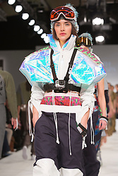 © Licensed to London News Pictures. 01/06/2015. London, UK. Collection by Holly Pendlebury. Fashion show of Bath Spa University at Graduate Fashion Week 2015. Graduate Fashion Week takes place from 30 May to 2 June 2015 at the Old Truman Brewery, Brick Lane. Photo credit : Bettina Strenske/LNP