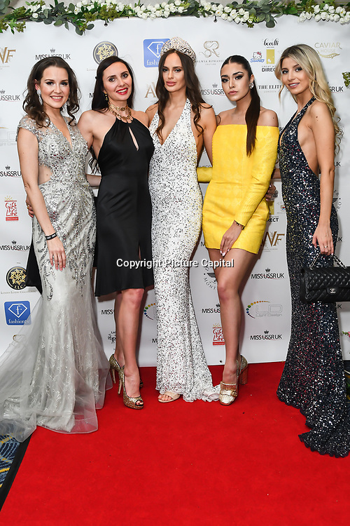 Julia Titova, Roksana Slyahtitch, Anastasiya Vinikovska and guests attend the Grand Final MISS USSR UK 2019 at Hilton hotel London on 27 April 2019, London, UK.