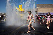 Appearing Rooms fountains on the Southbank. During the summer months, outside the refurbished Royal Festival Hall you can play in these rooms created by walls of water. Danish artist Jeppe Hein's aquatic sculpture Appearing Rooms was originally commissioned for the garden of the Villa Manin, Italy. Inspired by the Baroque villa, he designed an ornamental fountain that combines sculpture, architecture, and technology and playfully invites visitors to interact with the changing spaces created by rising and falling walls of water.