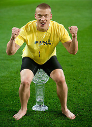 Nejc Vidmar of Domzale celebrates after winning the football match between NK Domzale and NK Maribor in final match of Hervis Cup, on May 25, 2011 in SRC Stozice, Ljubljana, Slovenia. Domzale defeated Maribor and became Slovenian Cup Champion 2011. (Photo By Vid Ponikvar / Sportida.com)