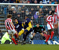 Photo: Richard Lane.<br /> Wimbledon v Stoke City. FA Cup 5th Round. 03/01/2004.<br /> John Eustace first in a goal for Stoke.