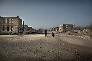 """Ruined city of Agdam with predominantly Azeri population before a war is a ghost town.<br /> <br /> Agdam is a ghost town which once had 160,000 residents and an airport. Under Armenian control since July 1993, most of the refugees from Agdam now live in camps and makeshift cities in Azerbaijan. Because of the level of destruction the city ruins are commonly known as the """"Hiroshima of Karabakh.""""Officially  cease-fire line is called """"Nagorno Karabakh Line of Contact """""""