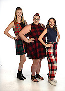 Hartford, CT, 8/26/2016<br /> Hartford Courant studio.<br /> Fashion designer Zoe Ilana Grinfeld of Colchester, center, with models Courtney Bouchard of Somers, left and Laura Heitman of Hebron, right.<br /> Photo by MARA LAVITT/ Special to the Courant.