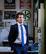 Matteo Bianchi, 39 anni, segretario provinciale Lega Nord Varese. Sede Lega Nord di Varese. | Matteo Bianchi, 39 years old, provincial secretary of Lega Nord political party in Varese. Lega Nord party headquarters in Varese.