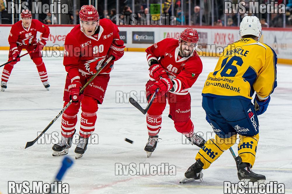 LAUSANNE, SWITZERLAND - NOVEMBER 05: #40 Etienne Froidevaux of Lausanne HC shoots during the Swiss National League game between Lausanne HC and HC Davos at Vaudoise Arena on November 5, 2019 in Lausanne, Switzerland. (Photo by Robert Hradil/RvS.Media)