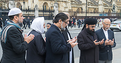 Parliament Square, London, March 29th 2017. Imams from across the UK pray in Parliament Square for the victims of Wednesday 22nd's attack on Westminster Bridge and in the grounds of Parliament. ©Paul Davey<br /> FOR LICENCING CONTACT: Paul Davey +44 (0) 7966 016 296 paul@pauldaveycreative.co.uk