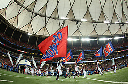 Dec 31, 2014; Atlanta , GA, USA; Mississippi Rebels take the field prior to facing the TCU Horned Frogs in the 2014 Peach Bowl at the Georgia Dome. Mandatory Credit: Kevin Liles/CFA Peach Bowl via USA TODAY Sports