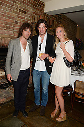Left to right, JACKSON SCOTT, HUGO HEATHCOTE and TOR COOK at an evening of Dinner & Dancing at Daphne's, 112 Draycott Avenue, London SW3 on 24th July 2013.