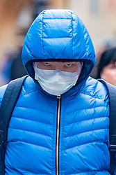 © Licensed to London News Pictures. 09/03/2020. Oxford, UK. A man wears a face mask and protective googles in central Oxford as the COVID-19 coronavirus continues to spread across the United Kingdom. Photo credit: Peter Manning/LNP