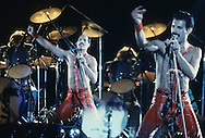 LOS ANGELES, CA - FEBRUARY 14: Roger Taylor and Freddie Mercury of Queen in concert at The Forum on February 14, 1980 in Los Angeles, California.