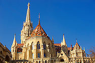 Church of Our Lady or Matthias Church ( Mátyás templom), Castle District, Budapest Hungary .<br /> <br /> Visit our HUNGARY HISTORIC PLACES PHOTO COLLECTIONS for more photos to download or buy as wall art prints https://funkystock.photoshelter.com/gallery-collection/Pictures-Images-of-Hungary-Photos-of-Hungarian-Historic-Landmark-Sites/C0000Te8AnPgxjRg