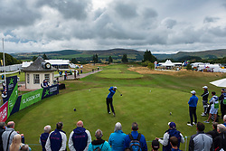 Gleneagles, Scotland, UK; 10 August, 2018.  Day three of European Championships 2018 competition at Gleneagles. Men's and Women's Team Championships Round Robin Group Stage. Four Ball Match Play format.  Pictured; Iceland's Axel Boasson tees off on 1st tee in match against Norway.