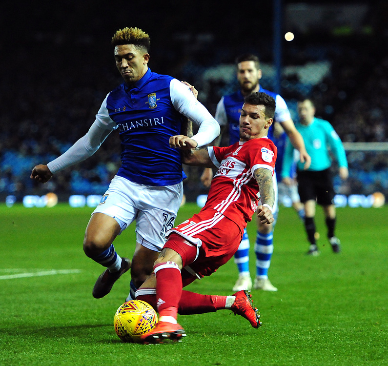 Middlesbrough's Marvin Johnson vies for possession with Sheffield Wednesday's Liam Palmer<br /> <br /> Photographer Chris Vaughan/CameraSport<br /> <br /> The EFL Sky Bet Championship - Sheffield Wednesday v Middlesbrough - Saturday 23rd December 2017 - Hillsborough - Sheffield<br /> <br /> World Copyright © 2017 CameraSport. All rights reserved. 43 Linden Ave. Countesthorpe. Leicester. England. LE8 5PG - Tel: +44 (0) 116 277 4147 - admin@camerasport.com - www.camerasport.com