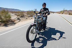Thomas Trapp, owner of the Harley-Factory Frankfurt dealership in Germany on his 1916 Harley-Davidson during the Motorcycle Cannonball Race of the Century. Stage-14 ride from Lake Havasu CIty, AZ to Palm Desert, CA. USA. Saturday September 24, 2016. Photography ©2016 Michael Lichter.
