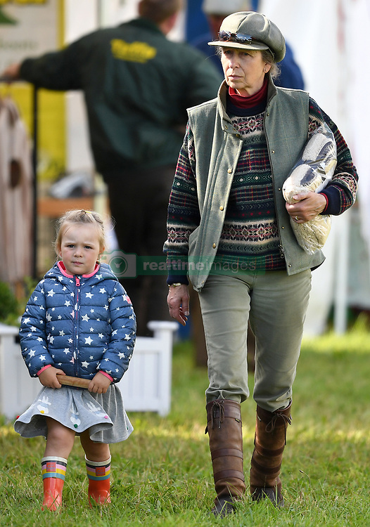 Members of The Royal Family attend the Whatley Manor Horse Trials at Gatcombe Park, Minchinhampton, Gloucestershire, UK, on the 8th September 2017. 08 Sep 2017 Pictured: Mia Tindall, Princess Anne, Princess Royal. Photo credit: James Whatling / MEGA TheMegaAgency.com +1 888 505 6342
