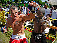 """This is fighter John """"Boom Boom"""" Andre at left, competing against Sylvester """"Fruidy Lou"""" (cq) on September 18, 2010. Dhafir Harris, """"Dada 5000"""", puts on backyard fights at his mother house, which go viral on youtube and have been the subject of documentaries. Sometimes the men fight until they are unconscious. There' s no gloves and occasionally, there's a cage. The community has taken to the events, because they are able to set up businesses selling food and washing cars."""