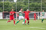 Ünal Kaya & Cagri Kiral tackle Riccardo Ravasi for Padania. Northern Cyprus 3 v Padania 2 during the Conifa Paddy Power World Football Cup semi finals on the 7th June 2018 at Carshalton Athletic Football Club in the United Kingdom. The CONIFA World Football Cup is an international football tournament organised by CONIFA, an umbrella association for states, minorities, stateless peoples and regions unaffiliated with FIFA.