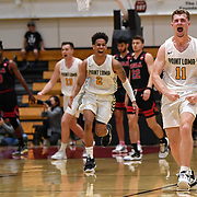 Point Loma guard Brock Mackenzie (11) celebrates hitting a three-point jump shot to beat Biola in overtime to win the PacWest basketball championship finals in the Felix Event Center at Azusa Pacific University Saturday, March, 7, 2020, in Azusa. (Mandatory Credit: Katie Chin-Sports Shooter Academy)