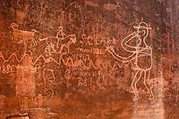 Petroglyphs on sandstone panel along the Esacalante River, Grand Staircase Escalante National Monument Utah
