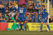 AFC Wimbledon goalkeeper Aaron Ramsdale (35) making save during the EFL Sky Bet League 1 match between AFC Wimbledon and Charlton Athletic at the Cherry Red Records Stadium, Kingston, England on 23 February 2019.