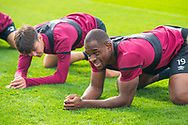 Uche Ikpeazu (#19) of Heart of Midlothian FC is in good spirits during training at The Oriam Sports Performance Centre, Heriot Watt University, Edinburgh, Scotland on 24 September 2019, ahead of the Betfred Scottish Football League Cup quarter-final match against Aberdeen. Picture by Malcolm Mackenzie