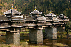 Famous wooden Wind and Rain Bridge at Chengyang in Guanxi Province in China