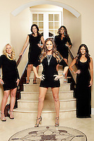 9 November 2012: Tiffany Parros, Kristen Giguere, Marie Beauchemin, Brianne Huskins and Amanda Elliott. Wives of professional ice hockey players.  Photographed for the Real Housewives of the National Hockey League in Tustin, CA.