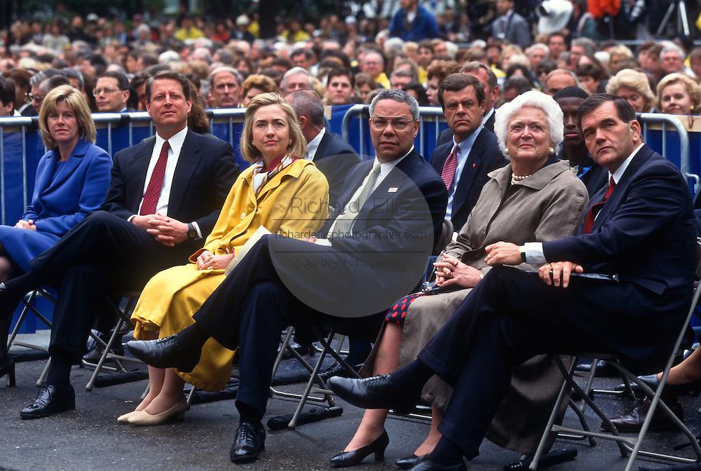 Tipper & Al Gore, Hillary Clinton, Colin Powell, Barbara Bush and Tom Ridge attend the Presidents Summit for America's Future in Philadelphia, PA.