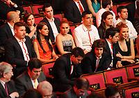 20120227: LISBON, PORTUGAL - SL Benfica 108th anniversary gala at Coliseu dos Recreios in Lisbon, Portugal.<br /> In photo: Javi Garcia, Cardozo, Nolito, Gaitan, Saviola and Pablo Aimar.<br /> PHOTO: Alvaro Isidoro/CITYFILES