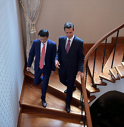 May 6, 2017 - Mexico City, DF, Mexico - Mexican President Enrique Pena Nieto, right, walks with Alibaba CEO Jack Ma at the official residence of Los Pinos May 5, 2017 in Mexico City, Mexico. The two discussed the Chinese online commerce giant expanding operations into Mexico. (Credit Image: © Presidenciamx/Planet Pix via ZUMA Wire)