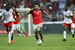 ALEXANDRIA, Oct. 9, 2017  Mohamed Salah (C) of Egypt controls the ball during the 2018 FIFA World Cup qualification match between Egypt and Congo at the Borg El-Arab Stadium in Alexandria, Egypt, Oct. 8, 2017. Egypt won 2-1 and qualified to the World Cup finals. (Credit Image: © Ahmed Gomaa/Xinhua via ZUMA Wire)