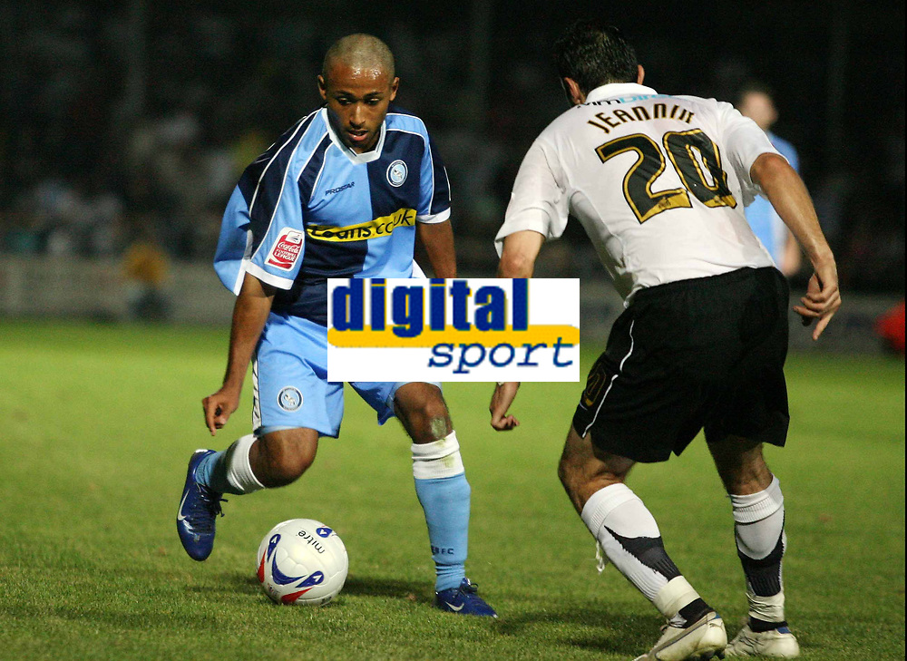 Photo: Rich Eaton.<br /> <br /> Hereford United v Wycombe Wanderers. Coca Cola League 2. 12/09/2006. Ikechi Anya left of Wycombe takes on Herefords Alex Jeannin
