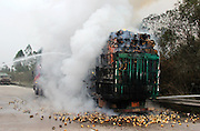 LIUZHOU, CHINA - FEBRUARY 05: (CHINA OUT) <br /> <br /> Firefighters put out fire on a truck that carries nearly 30 tons of pears and gets fire when driving to a high expressway from Guilin to Liuzhou on February 5, 2016 in Liuzhou, Guangxi Province of China. Three fire engines were dispatched to fire site and it seemed that the fire was ignited from the tire. <br /> ©Exclusivepix Media