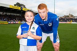Rory Gaffney of Bristol Rovers with mascot - Mandatory by-line: Dougie Allward/JMP - 28/10/2017 - FOOTBALL - Memorial Stadium - Bristol, England - Bristol Rovers v Milton Keynes Dons - Sky Bet League One