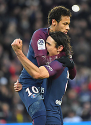 PSG's Edinson Cavani (R) and Neymar celebrate during the Ligue 1 Paris Saint-Germain (PSG) v Montpellier football match at the Parc des Princes stadium in Paris, France, January 27, 2018. Edinson Cavani became Paris St Germain's all-time top goalscorer as the Ligue 1 leaders eased to a 4-0 victory against Montpellier. Photo by Christin Liewig/ABACAPRESS.COM