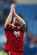 Lukas Jutkiewicz of Birmingham city applauds the Birmingham fans at the end of the match. EFL Skybet championship match, Cardiff city v Birmingham City at the Cardiff City Stadium in Cardiff, South Wales on Saturday 11th March 2017.<br /> pic by Andrew Orchard, Andrew Orchard sports photography.