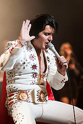 Rob Kingsley Elvis Presley Tribute Artist A Vision of Elvis On Tour Bristol Hippodrome<br /> <br /> 07 April 2014<br /> Image © Paul David Drabble <br /> www.pauldaviddrabble.co.uk