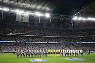 Both teams line up before k/o. UEFA Champions league match, group E, Tottenham Hotspur v AS Monaco at Wembley Stadium in London on Wednesday 14th September 2016.<br /> pic by John Patrick Fletcher, Andrew Orchard sports photography.