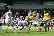 Leeds United striker Kemar Roofe (7) shoots on goal during the EFL Sky Bet Championship match between Burton Albion and Leeds United at the Pirelli Stadium, Burton upon Trent, England on 22 April 2017. Photo by Richard Holmes.