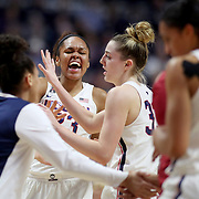 UNCASVILLE, CONNECTICUT- DECEMBER 19:  Azura Stevens #23 of the Connecticut Huskies and Katie Lou Samuelson #33 of the Connecticut Huskies react to a basket as a time out is called during the Naismith Basketball Hall of Fame Holiday Showcase game between the UConn Huskies Vs Oklahoma Sooners, NCAA Women's Basketball game at the Mohegan Sun Arena, Uncasville, Connecticut. December 19, 2017 (Photo by Tim Clayton/Corbis via Getty Images)