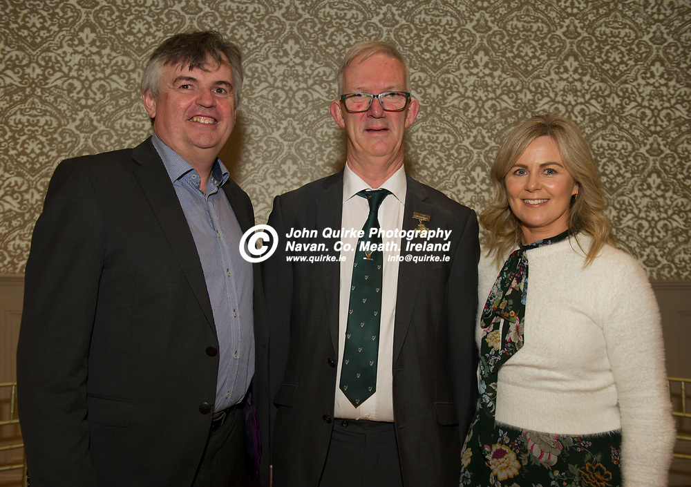 25-01-19. Leinster GAA Annual Convention 2018 at the Knightsbrook Hotel, Trim.<br /> Cathoirleach Pat Teehan pictured with Birr Chairman, John Irwin and Secretary Orla Watkins.<br /> Photo: John Quirke / www.quirke.ie<br /> ©John Quirke Photography, Unit 17, Blackcastle Shopping Cte. Navan. Co. Meath. 046-9079044 / 087-2579454.