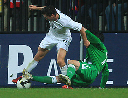 Andraz Kirm (17) and Keith Gillespie at the fourth round qualification game of 2010 FIFA WORLD CUP SOUTH AFRICA in Group 3 between Slovenia and Northern Ireland at Stadion Ljudski vrt, on October 11, 2008, in Maribor, Slovenia.  (Photo by Vid Ponikvar / Sportal Images)
