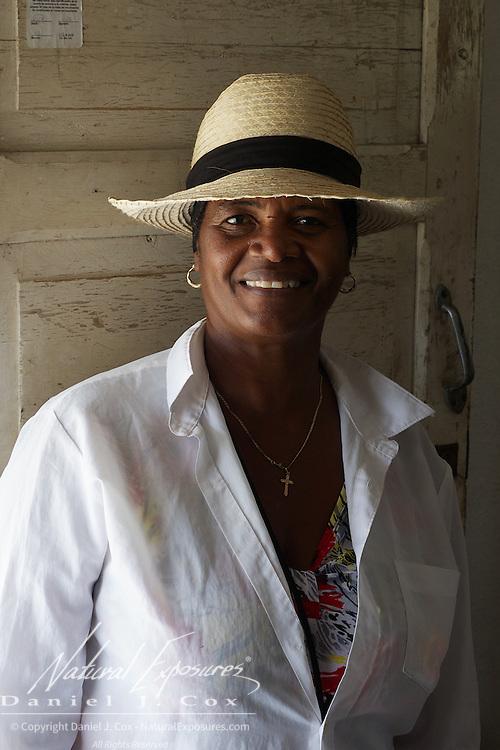 A local Cuban lady at her home near Havana, Cuba.