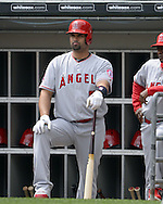 CHICAGO - APRIL 21:  Albert Pujols #5 of the Los Angeles Angels of Anaheim looks on against the Chicago White Sox on April 21, 2016 at U.S. Cellular Field in Chicago, Illinois.  The Angels defeated the White Sox 3-2.  (Photo by Ron Vesely)   Subject: Albert Pujols