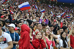 July 1, 2018 - Moscow, Russia - July 01, 2018, Russia, Moscow, FIFA World Cup 2018, the playoff round. Football match Spain - Russia at the stadium Luzhniki. fans; viewers; fans; the rostrum; joy; joy; (Credit Image: © Russian Look via ZUMA Wire)
