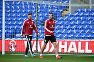 Gareth Bale of Wales and Aaron Ramsey of Wales (l)  during Wales football team training session at the Cardiff city stadium  in Cardiff, South Wales  on Monday 12th October 2015. The team are training ahead of their final Euro 2016 qualifying against Andorra tomorrow.<br /> pic by  Andrew Orchard, Andrew Orchard sports photography.