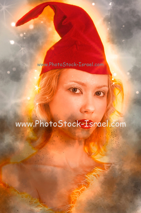Digitally enhanced image of a young blond woman with red cap
