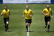 Match officials Trent Pedley (L), Chris Bennett (C), and Mark Rule (R) warm up for the Handa Premiership football match, Hawke's Bay United v Canterbury United, Bluewater Stadium, Napier, Sunday, December 06, 2020. Copyright photo: Kerry Marshall / www.photosport.nz