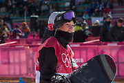 Zoi Sadowsi Synnott, New Zealand, competes at the ladies big air qualification during the Pyeongchang Winter Olympics 2018 on February 19th 2018, at the Alpensia Ski Jumping Centre, South Korea